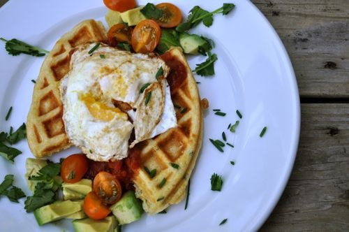 Best. I like the composition of this picture a lot. How could I make it better? Cornmeal Waffles with Salsa and Eggs
