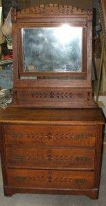 Eastlake Dresser ~ Antique American Furniture Victorian Bedroom  Spoon Carved Chip Carving