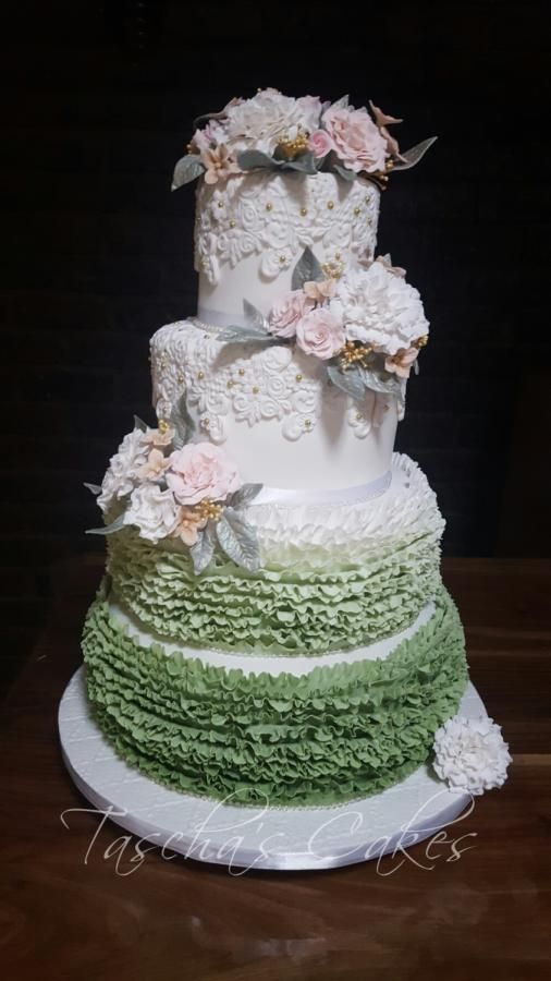 Vintage olive green and gold Wedding cake  by Tascha's Cakes - http://cakesdecor.com/cakes/258621-vintage-olive-green-and-gold-wedding-cake