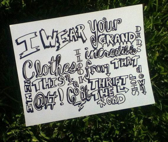 Thrift shop lyrics via Etsy