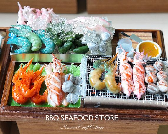 1 12 dollhouse miniature bbq grilled seafood shop store for Fresh fish store