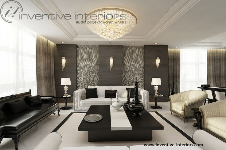 Projekt apartamentu 60m2 Inventive Interiors klasyczny luksusowy salon