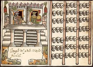 """depiction of a tzompantli (""""skull rack""""), right half of image; associated with the depiction of Aztec temple dedicated to the deity Huitzilopochtli. From the 1587 Aztec manuscript, the Codex Tovar. Ancient Aztecs, Ancient Civilizations, Ancient History, Aztec Temple, Aztec Ruins, Aztec Culture, Mesoamerican, Mexican Art, Temple"""