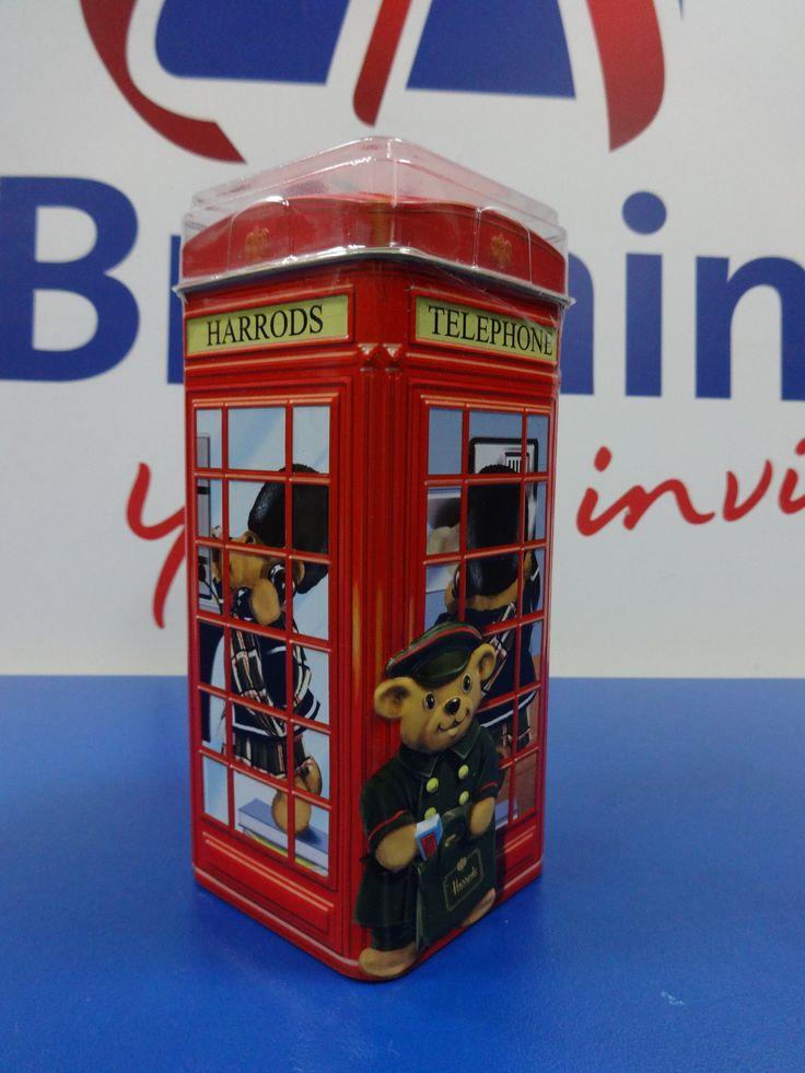 1498 = Копилка Телефонная Будка с шоколадом Harrods Медведи 200 g