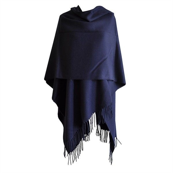 Grand Poncho bleu avec franges Toutacoo Made in France
