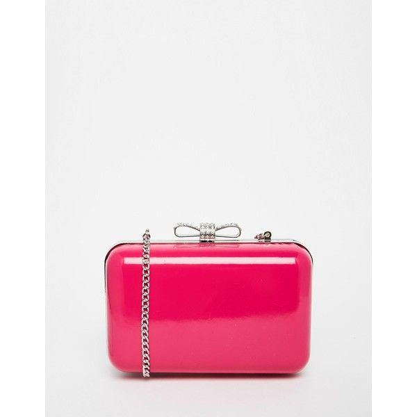 Lipsy Clutch in Neon Pink with Gold Bow Fastening (€41) ❤ liked on Polyvore featuring bags, handbags, clutches, pink, gold clutches, white purse, white clutches, neon pink purse and pink handbags