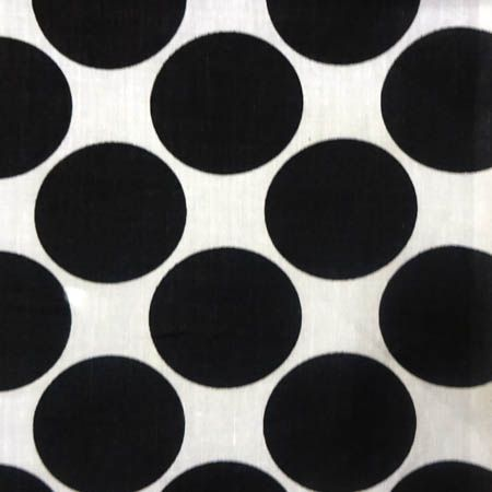 Giant Polka Dot Black on White Poly Cotton Fabric, 60