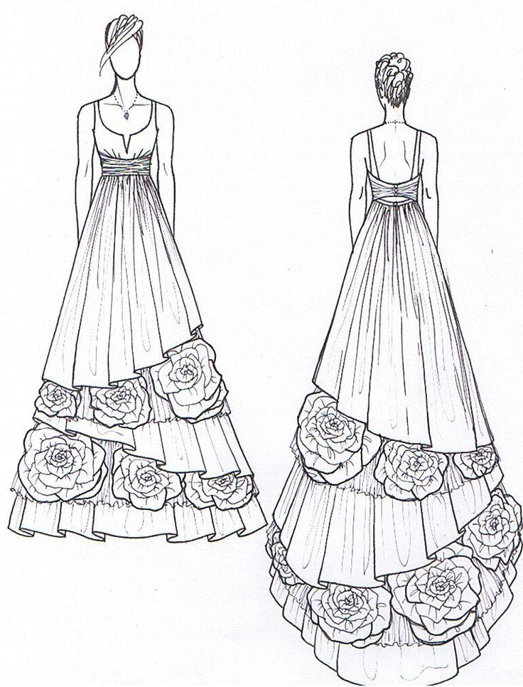 173 best Wedding dress sketches images on Pinterest | Fashion ...