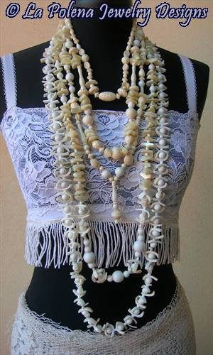 https://flic.kr/p/PJ5MDj | Blue Lagoon necklace set | vintage recycled jewelry components, vintage lucite beads, white glass beads, sea shell beads.