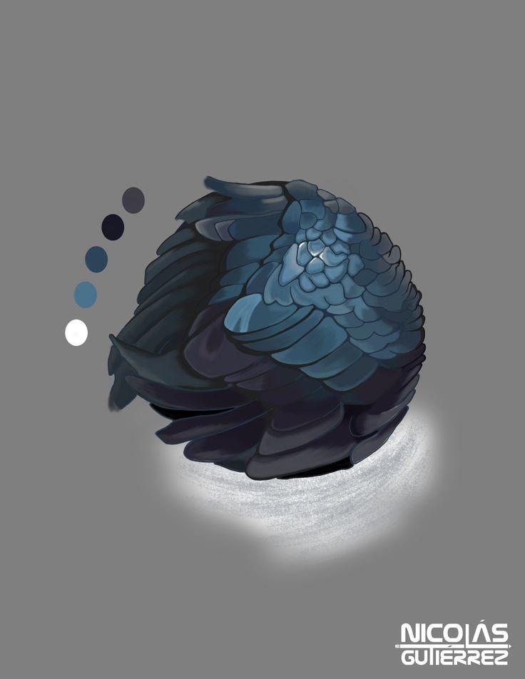 Esfera Con Alas - Ilustración digital realizada en Photoshop,  juntando conceptos de volumen y textura dentro de una misma ilustración.