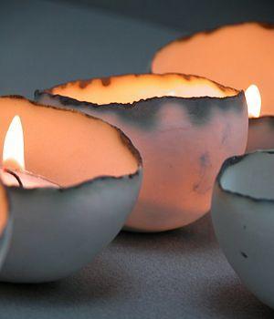 White porcelain semi-translucent tea light bowls - lovely!