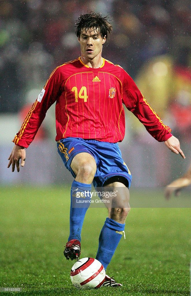 Xabi Alonso of Spain on the ball during the FIFA 2006 World Cup Playoff match between Slovakia and Spain on November 16, 2005 at The Slovana Stadium in Bratislava, Slovakia.