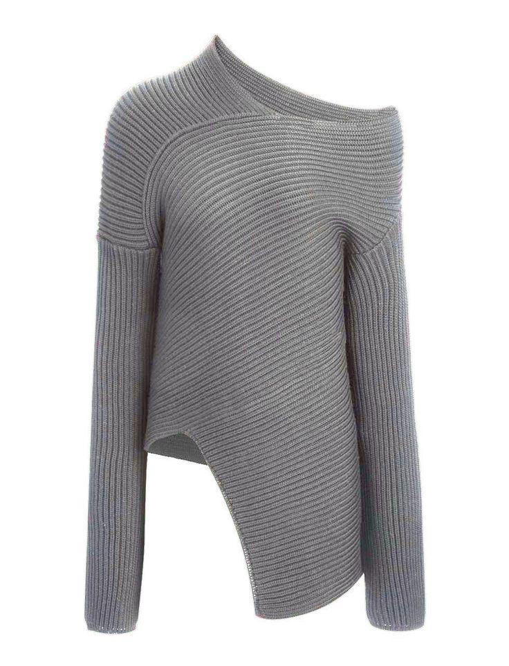 Wool Cardigan Stitch Asymmetric  Sweater alternative image