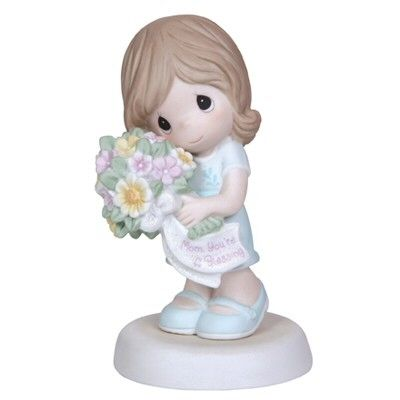 Precious Moments Mom, You're A Blessing A perfect Precious Moments for Mother's Day. Features a mom holding a bouquet of flowers with a ribbon that reads: Mom, You're A Blessing. Figurine is made of porcelain. $37.50 #PreciousMoments #MothersDay #Mom #Family