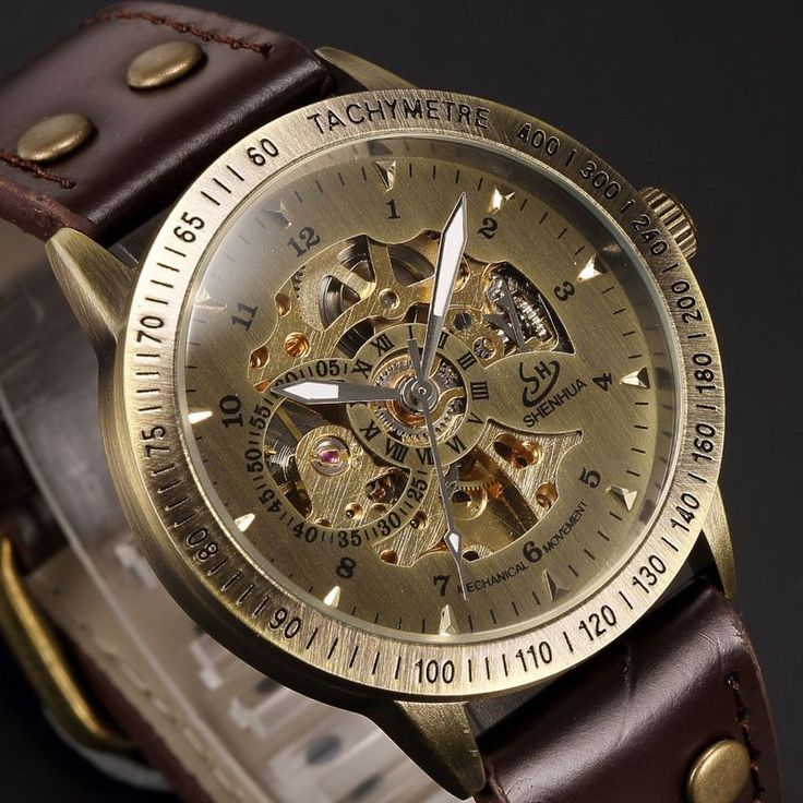 Grace your wrist with this well-crafted, stainless steel vintage skeleton Steampunk watch in bronze color. It has an analog glass display and automatic movement. Features a main dial of Arabic/standar