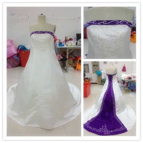 Hot sale Off Shoulder Floor Length Embroidery Purple and White Wedding Dresses on AliExpress.com. $149.00