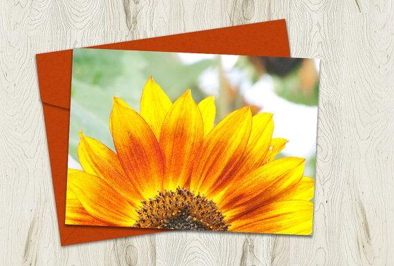 Printable Sunflower Card Blank Note Cards by PlayfulPixieStudio