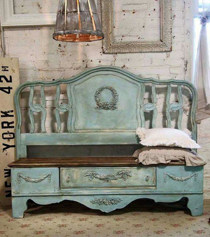 LOVE!!!!!  BENCH MADE FROM AN OLD BED FRAME.