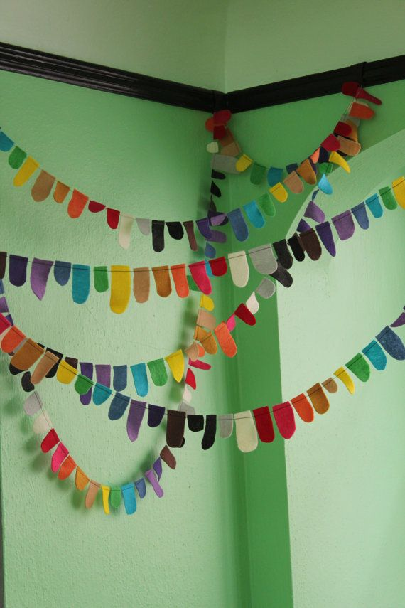 'Color Tabs' - felt garland in 2yd increments from tinktonktink on #Etsy, $14 #bunting
