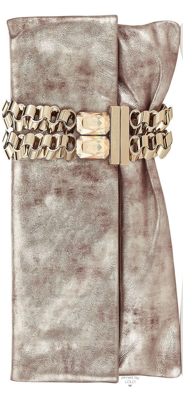 Jimmy Choo Chandra Nude Foil Metallic Clutch | LOLO❤︎