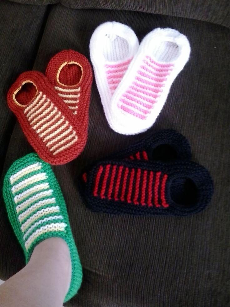 Receita de Tricô: Sapatilhas de tricô para adulto