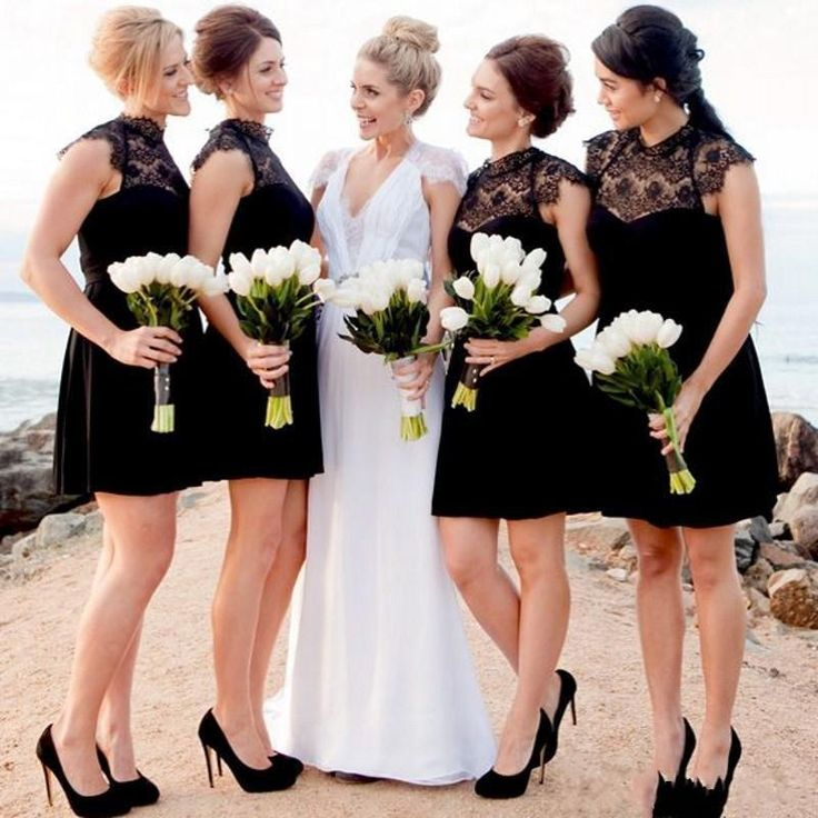 Romantic Sweetheart Beach Wedding Dress High Quality: Black Short Lace Bridesmaid Dresses 2017 High Neck Cap