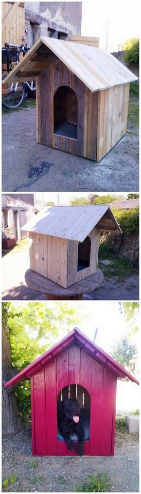 Give your pet dog with the comfortable and relaxing place to sleep through the choice of this wonderful wood pallet dog house creation work. This dog house is all style up in the shape of the hut where you can arrange of the room according to the size of the dog. So arrange this creative piece of the dog house out from the wood pallet and make it look ideally attractive for others!
