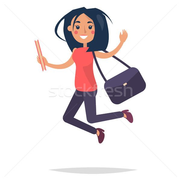 Young Bouncing Girl Student Flat and Shadow Theme stock photo (c) robuart (#8506662) | Stockfresh