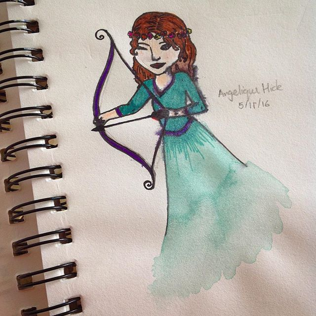 #newpost! I did this girl with a borrow with my friend, using watercolour paint 🎨 #creative_n_crafty #girl #drawing #watercolourpainting #bowandarrow #greenandpurpledress #art #love2draw