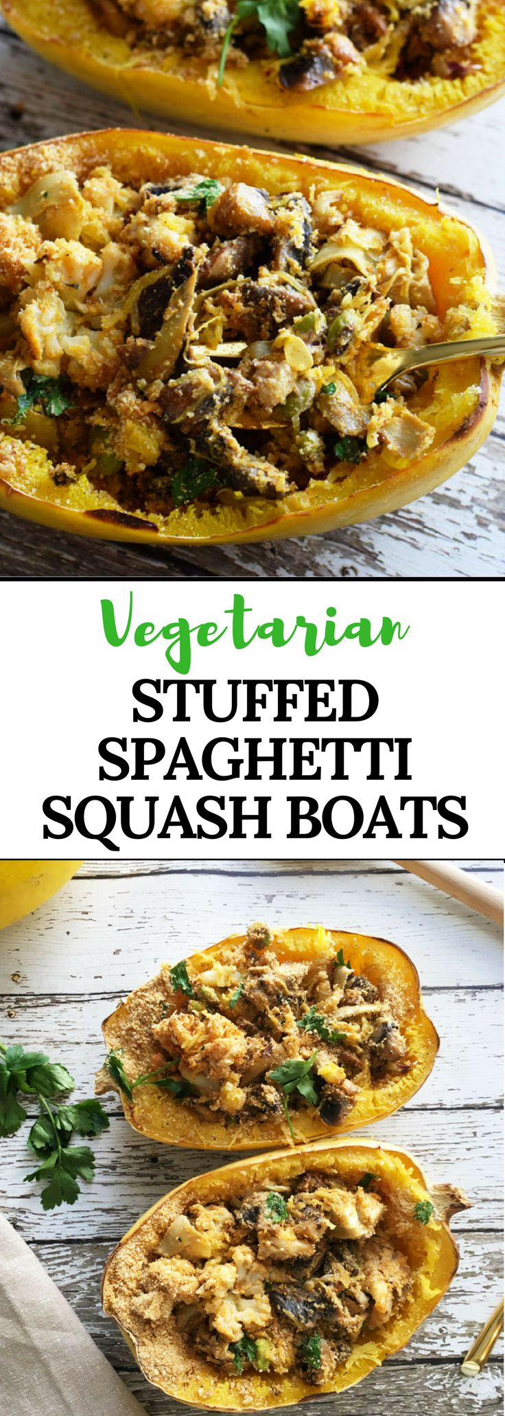 Vegetarian Stuffed Spaghetti Squash Boats are a delicious, meat free option stuffed with creamy veggies and cheesy goodness. This dish is great for any time of year, and even boasts some healthy prebiotics and probiotics.