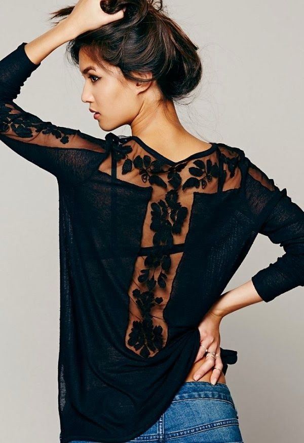 Long sleeve black lace