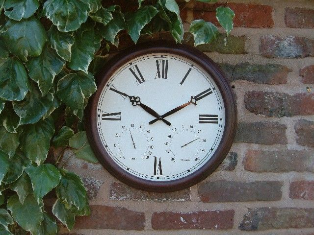 Antique Rust Outdoor Garden Clock With Thermometer   38cm (15
