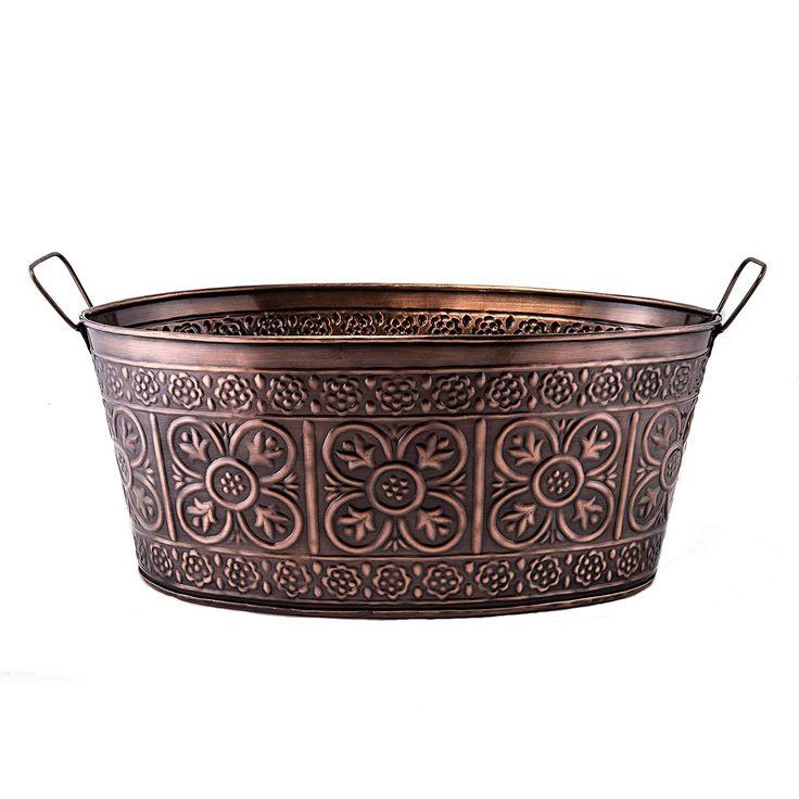 Amazon.com | Old Dutch 634 Oval 2.9-Gallon Quatrefoil Party Tub, 17 by 91/2 by 7-Inch, Antique Copper: Serveware Accessories