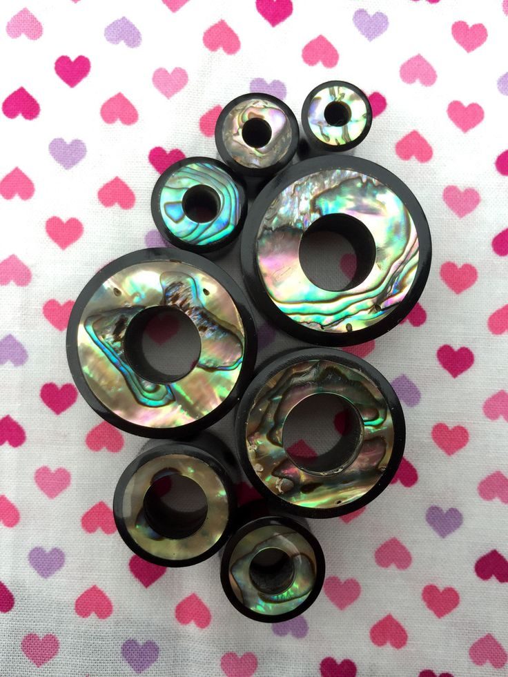 Horn & Abalone Shell Tunnels- 5mm-25mm (SOLD INDIVIDUALLY, NOT AS PAIR)