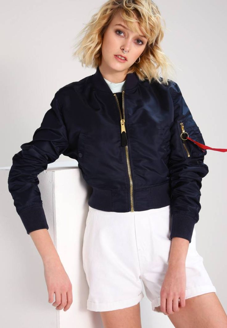 """Alpha Industries. Bomber Jacket - blue/gold. Outer fabric material:100% polyester. Pattern:plain. Care instructions:Dry clean only. Sleeve length:long,25.0 """" (Size M). Back width:17.5 """" (Size M). Fit:regular. Our model's height:Our model is 7..."""