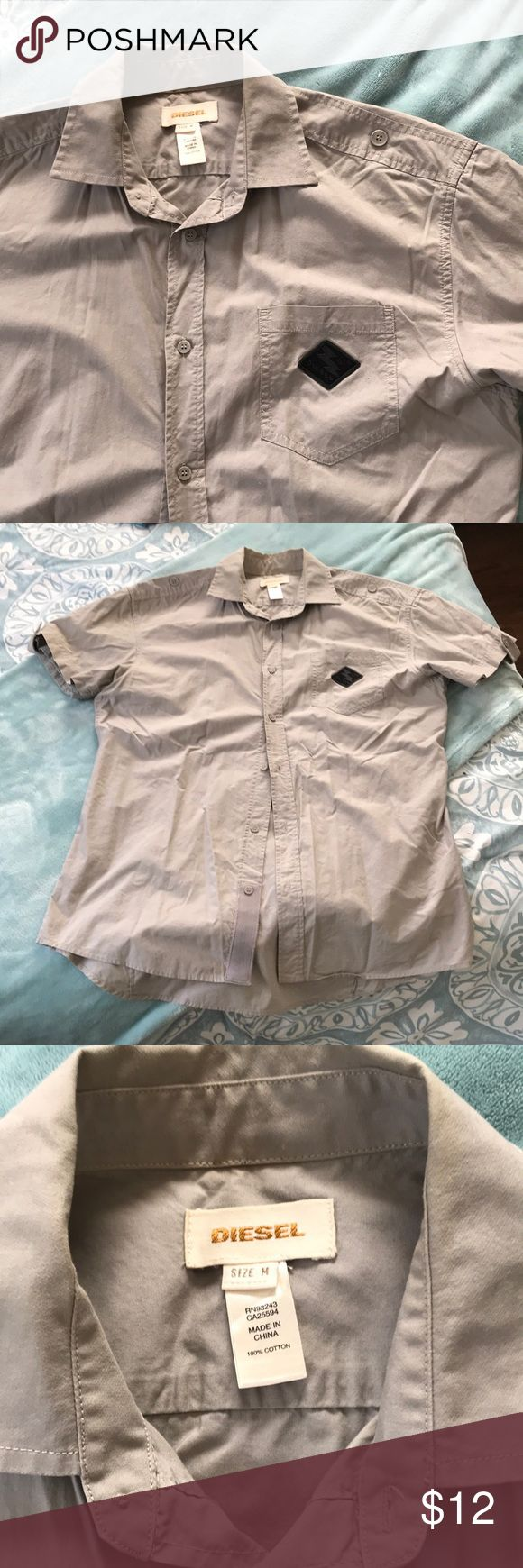 Diesel Button Down Shirt Preloved - Men's beige colored Diesel shirt, cleaning out BF's closet, great condition and nice details! Open to offers and bundle to save $$ 🤗! Diesel Shirts Casual Button Down Shirts