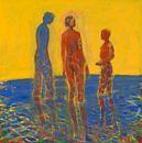 Franz Widerberg. Mennesker i vannet Olje på lerret, 96x95 cm