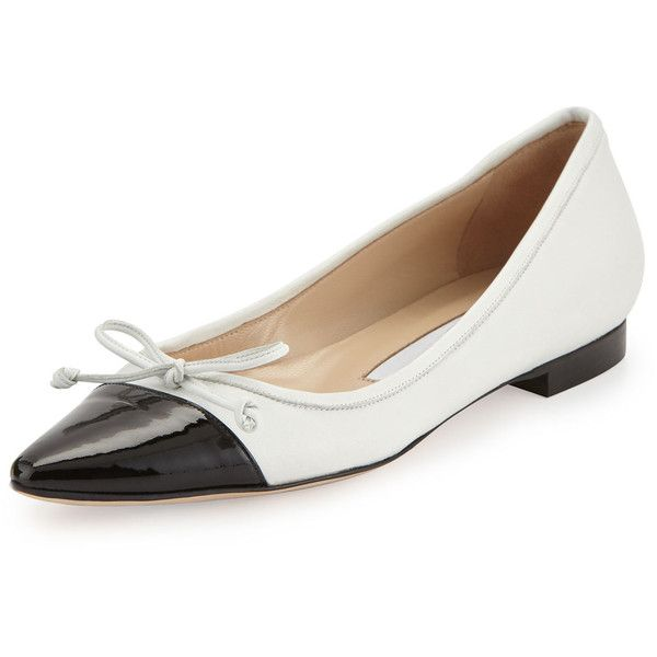 Manolo Blahnik Wendy Pointed-Toe Ballerina Flat (975 CAD) ❤ liked on Polyvore featuring shoes, flats, pointed toe bow flats, flat shoes, slip on shoes, black and white shoes and pointed toe ballet flats