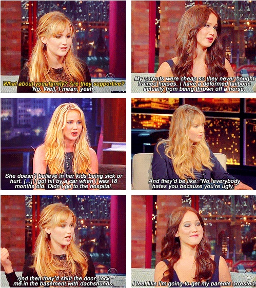 jennifer talks about her family in a bad way but in a funny way lol