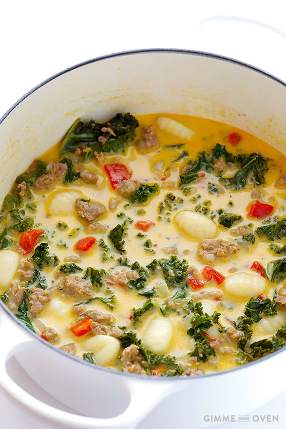 7 Ingredient Easy Zuppa Toscana Recipe (Creamy Gnocchi Soup with Sausage and Kale) | gimmesomeoven.com