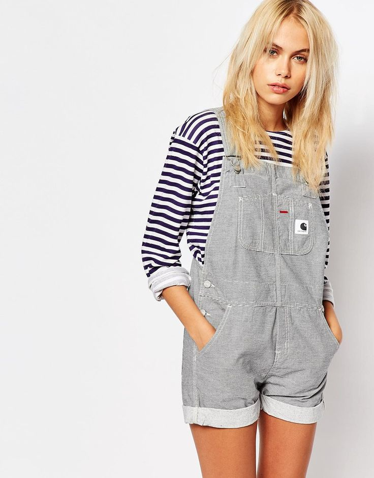 Image 1 of Carhartt Dungaree Playsuit In Hickory Stripe