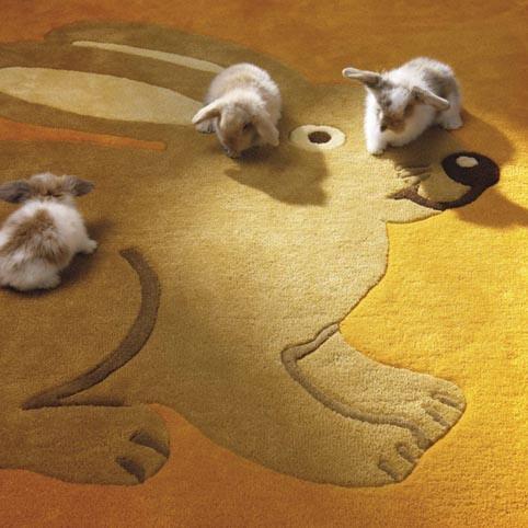 Vloerkleed met afdruk van een konijn