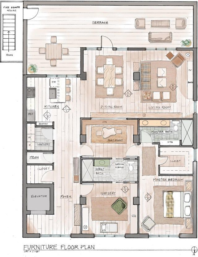 Furniture Floor Plan Hand Draft And Render Reddit Architectural Floor Plans Rendered Floor Plan Interior Architecture Drawing