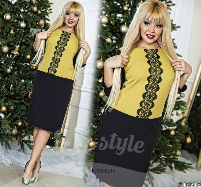 Красивое платье большого размера двухцветное с кружевом черное с оливкой
