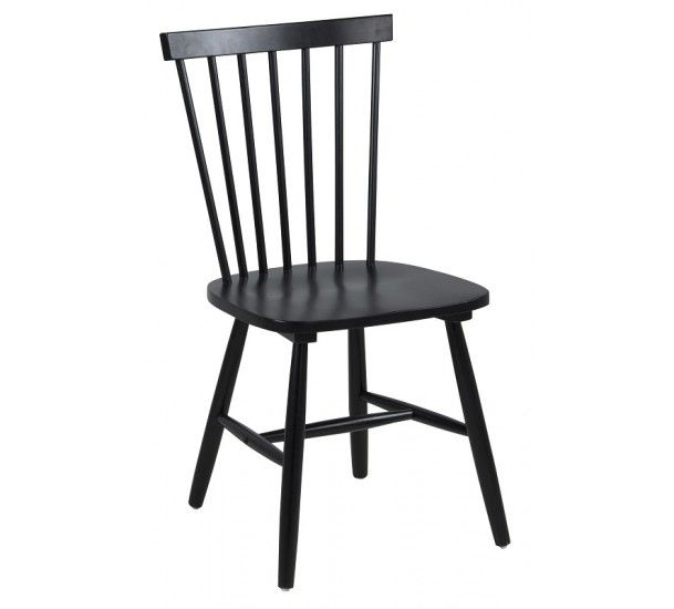 Lango Spisebordsstol - Sort spisebordsstol med tremmer i ryggen