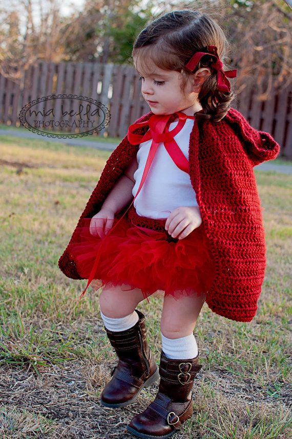 Baby girls little red riding hood costume cape by ChiclyHooked, $40.00