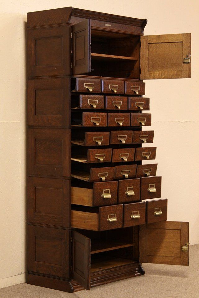 antique file cabinet - This would be amazing for me and my man's MTG card organizing!!