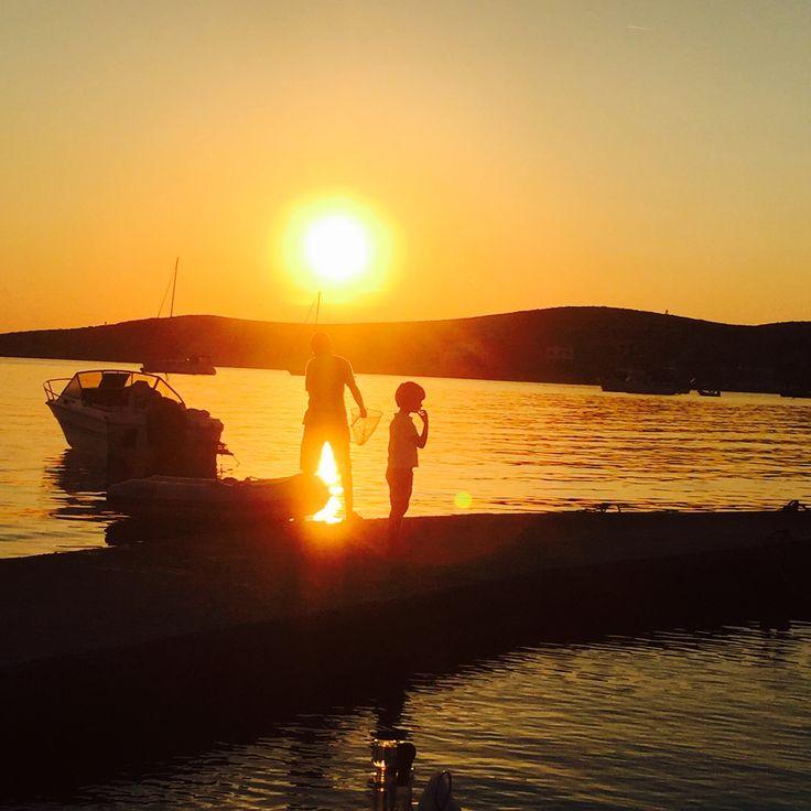 Children fishing at sunset, Parikia Paros