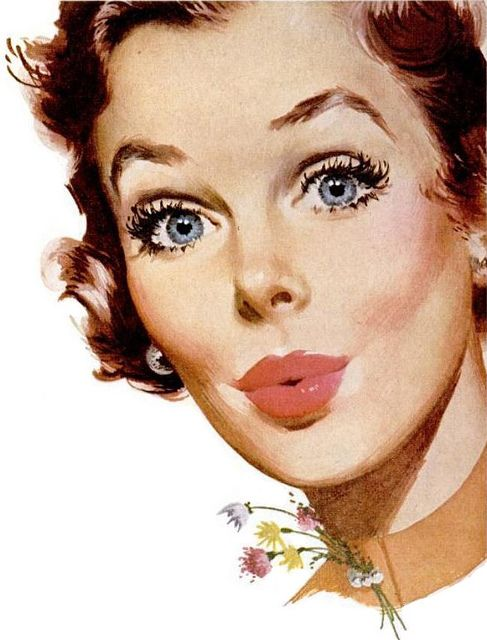 Soft coral pink lips and lashes. Simple, for day time makeup (not always needing a cat liner for Vintage looks).
