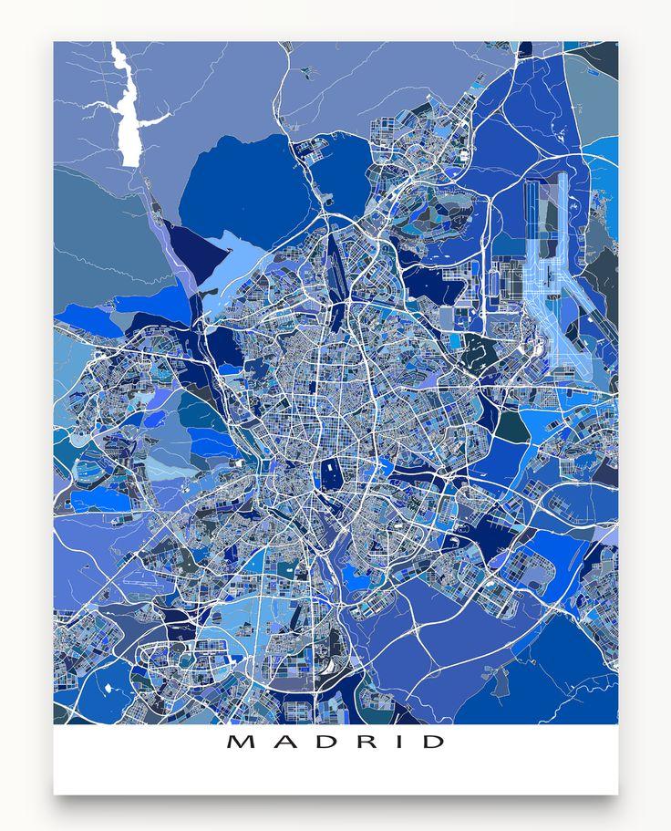 Madrid, Spain map art print. #Madrid #map